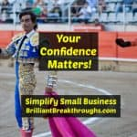 Small Business Coaching by Brilliant Breakthroughs, Inc. Your confidence illustrated by a bullfighter in the ring.
