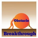 Obstacle Breakthrough with 2 men trying to push a boulder