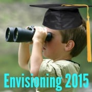 Little boy earing college graduate hat looking through binoculars  depicting envisioning 2015