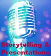 "Storytelling depicted through an old microphone with the words ""Storytelling & Presentations"""
