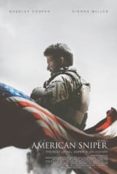 American Sniper movie poster of Navy Seal Kyle and the American Flag