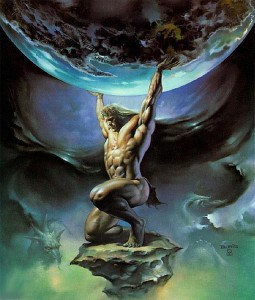Painting of Mythology's Atlas holding up the world demonstrating his fortitude