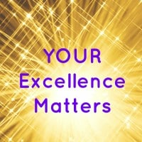 "Image of golden starburst light with startbursts around with the phrase ""YOUR Excellence Matters"" to encourage excelling performance during the March Madness Basketball Tournament"