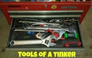 Red Craftsman toolbox with wrenches for innovation tools