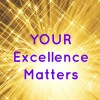 """Your Excellence Matters"" in deep purple font with golden starr and fireworks going off behind it to depict the brilliance of professionalism"