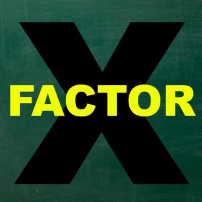 "Intentions is depicted with ""FACTOR"" in yellow, placed over a huge ""X"" with a dark green background."