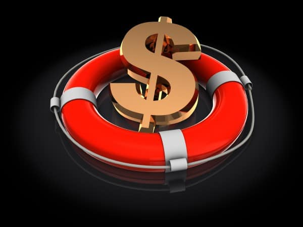 Rescue you money- buoy rescuing a dollar sign