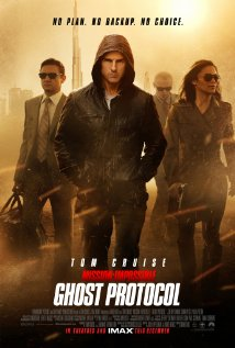 Mission Impossible-Ghost Protocol movie poster with the characters in the mist- on their own.