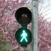 2016 Fresh Starts for Business is illustrated by a stop and go light with Cherry trees blossoming in the background. The go is a green image of a person walking.