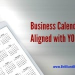 Business Calendars illustrated by a tablet with 2016 calendar on it while it's placed a steel desktop. Red lettering asks: