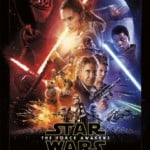 Star Wars: The Force Awakens movie poster with image of the main characters represented with shadows, light, and light sabers.