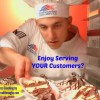 Enjoy Serving Your Customers? Illustrated by a military chef rearranging pie servings in a serving rack.