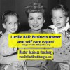 Balanced self cared for Business Owners illustrated through black and white posed photo of Lucille Ball sitting with her young children on their bed.