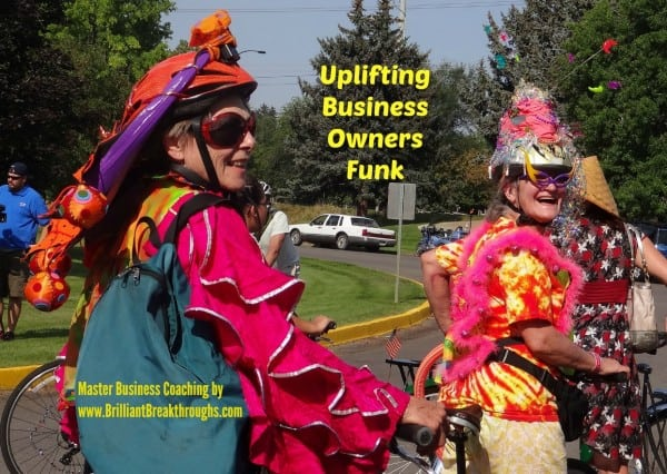 Uplift Business Owners Funk illustrated by 2 elderly women dressed elaborately in colorful bizare costumes and head gear while riding bicycles through a park.