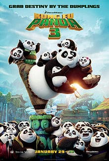 Kung Fu Panda 3 movie poster illustrated by the big panda, Po balancing on one foot while grabbing and escape dumpling with chopsticks while baby pandas clinging on to their hero.