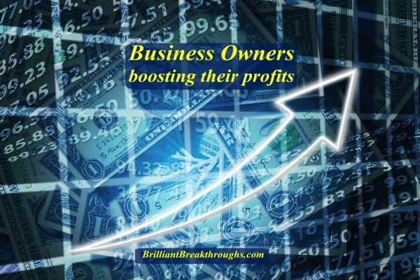 Business Owners boosting their profits illustrated with a digitized image in shades of blue with transparent dollars in the background with and and arrow smoothly going upward to imply growing profits.