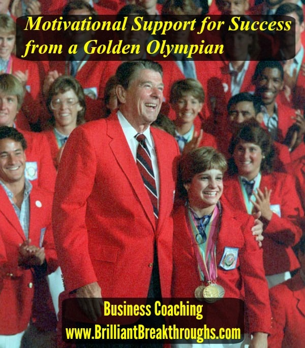 Motivational Support for Business Owners illustrated by photo of then President Reagan and Mary Lou Retton wearing her Olympic Medals. They are standing in front of other 1084 Olympians all wearing their red blazers.