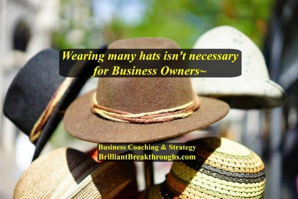 Business Owners wearing too many hats doesn't need to be. Illustrated by a bunch of different colored and types of hats on a stand.