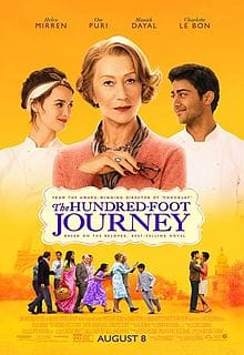 The Hundred-Foot Journey Movie poster . Illustrated with Main characters and the movie name. Image courtesy of Wikipedia.org.