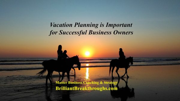 Vacation planning is important for Business Owners. Ilustrated by a family horseback riding on two horses at sunset on a beach.