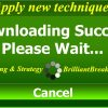 "Apply new techniques illustrated by a computerized message window stating ""Downloading Success, Please Wait"" with a cancel button at the bottom."