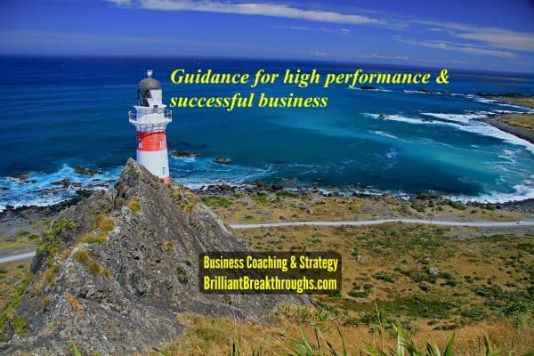 Guidance for high performance illustrated by a red and white stripe lighthouse on the rocked cliffs of the ocean.