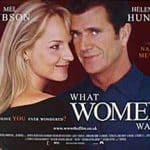 What Women Want movie poster illustrated bu Helen Hunt and Mel Gibson thinking with eachother....