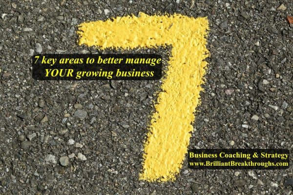 7 key areas to better manage your growing business illustrated by a yellow number 7 painted with a paintbrush on black asphalt.