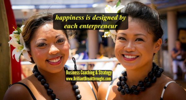 Happiness is designed by entrepreneurs illustrated by two smiling Hawaiian women with flowers in their hair.