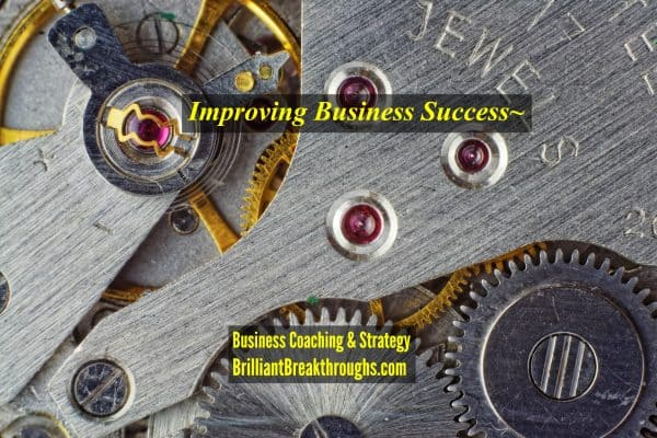 Improving Business Success illustrated by the precision of a clock's gears.