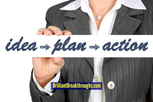 """Business Strategies and Tactics illustrated by business women in suit holding a sign saying """"Idea, plan, action""""."""