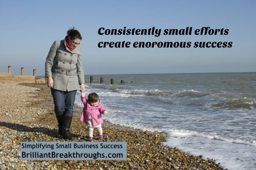 Consistently small efforts illustrated by a women holding an infants hand as the walk the shoreline.
