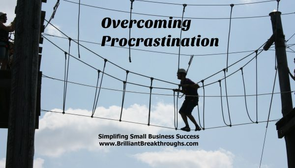 Overcoming procrastination illustrated by man walking a high rope course.