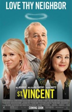 St Vincent' Movie poster illustrated as Bill Murray, Melissa McCarthy, and Naomi Watts in character.