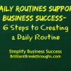 "Business Coaching by Brilliant Breakthroughs, Inc. ""Daily Routines support Business Success- 6 Steps to Creating a Daily Routine"" illustrated with those words in yellow on a green chalkboard background."