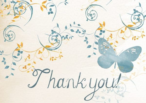 Business Coaching by Brilliant Breakthroughs, Inc.: Extending Gratitude illustrated by a handmade Thank You Card in blue butterflies and swirls with golden vines.