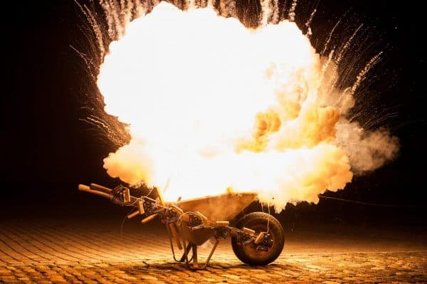 Ideas spark businesses. Business Coaching by Brilliant Breakthroughs, Inc. illustrated by a wheelbarrow having fireworks exploding in it.