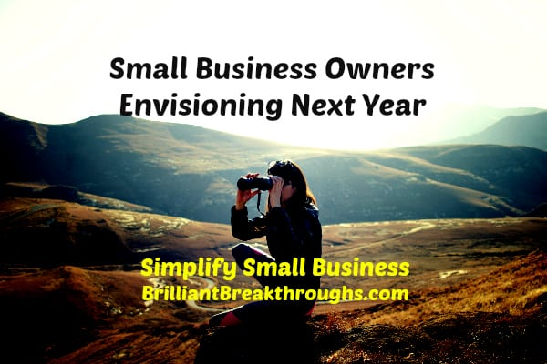 Business Coaching of Brilliant Breakthroughs, Inc. Are you envisioning next year to be successful? Illustrated by women on mountain range looking outward through binoculars.