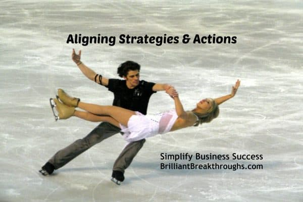 Business Coaching by Brilliant Breakthroughs, Inc. Aligning strategies and actions illustrated by a figure skating couple as she is balancing on his knee.