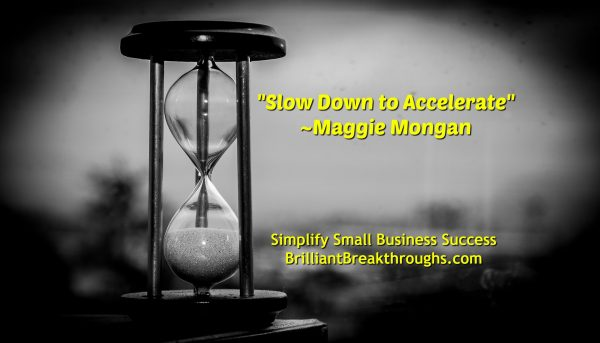 "Small Business Coaching by Brilliant Breakthroughs, Inc. ""Slow Down to Accelerate Success"" illustrated with a black and white image of an antique hour glass and a blurred background."