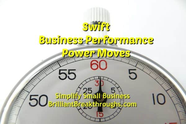 Business Coaching by Brilliant Breakthroughs, Inc. Swift Business Performance Power Moves image illustrated by a stop watch.