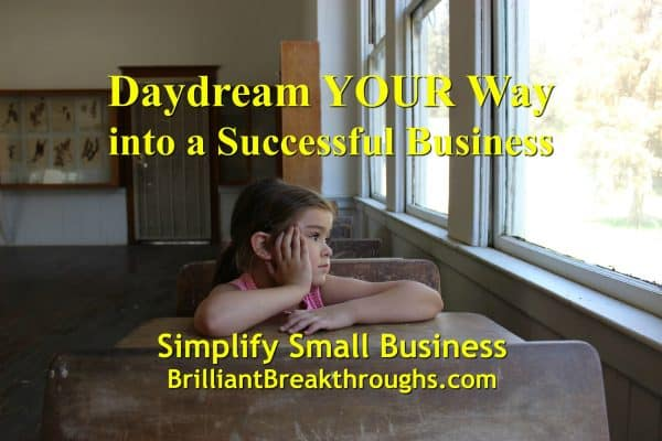 Business Coaching by Brilliant Breakthroughs, Inc. Daydream your small business to success illustrated by a little girl sitting in a desk looking out the window.