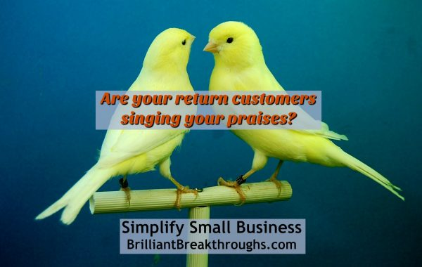 Small Business Coaching by Brilliant Breakthroughs, Inc. A happy return customer of your business illustrated by 2 yellow canaries singing to each other on a perch.