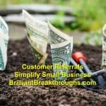 Small Business Coaching by Brilliant Breakthroughs, Inc. Addressing: Customer Referrals illustrated by dollar bills budding from a tilled garden.