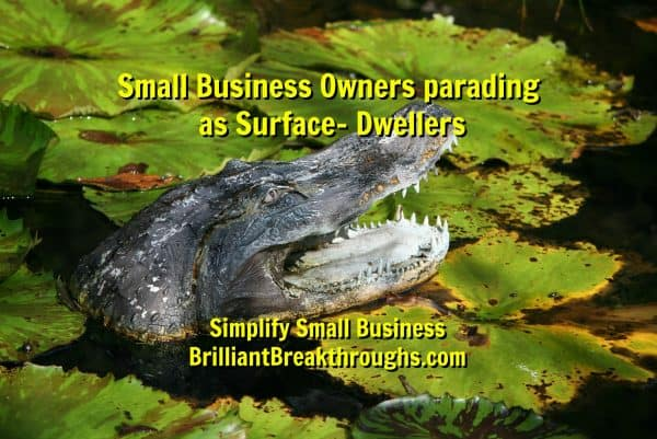 Master Business Coaching by Brilliant Breakthroughs, Inc. Surface-Dwellers illustrated by a alligator rising from the water.