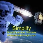 Small Business Coaching by Brilliant Breakthroughs, Inc. addressing Advancing Business illustrated by an astronaut in outer space with earth and satellite in the background.