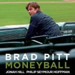 Small Business Coaching by Brilliant Breakthroughs, Inc. Business Movie Review Moneyball illustrated with Movie Poster of Oakland A's GM sitting in the stadium.