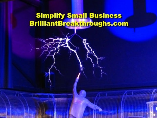 Small Business Coaching by Brilliant Breakthroughs, Inc. Great Experiment illustrated with a man holding a rod to conduct electricity in a lab.