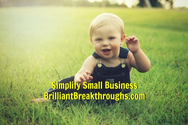 Small Business Coaching by Brilliant Breakthroughs, Inc. Happy Small Business Owners, depicted by a smiling baby sitting in a meadow.