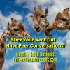 Small Business Coaching by Brilliant Breakthroughs, Inc. Peer conversations illustrated by 3 giraffes talking with their heads in the clouds.